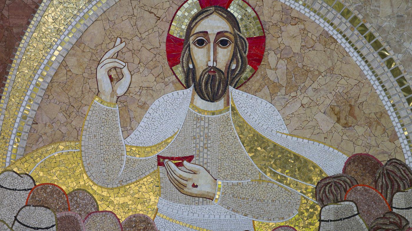 Apparition aux 500 - Rupnik - Genève église Ste-Marie du Peuple - Chemin de Joie mosaiques résurrection